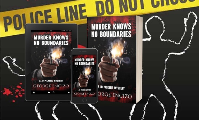 Murder Knows No Boundaries print ipad iphone with mystery background